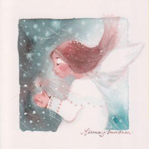 Joulukortti: Kynttiläenkeli (neliö)