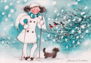 Joulukortti: Enkeli ja koira