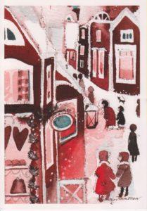 Joulukortti: Joulukylä