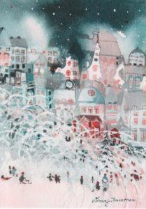 Joulukortti: Joulukaupunki