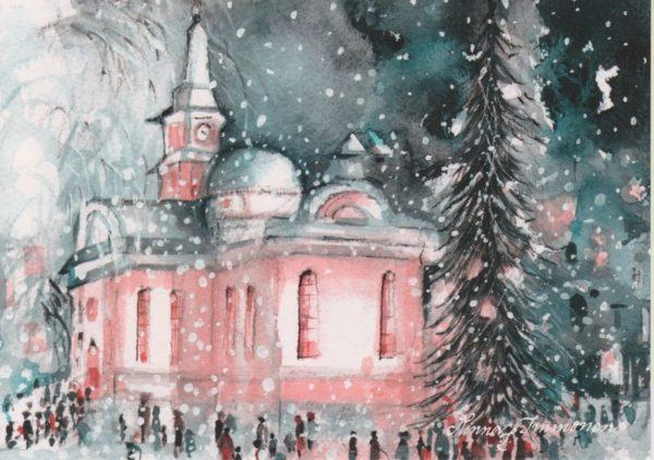 Joulukortti: Tunnelmallinen joulukirkko