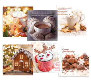 Joulukortteja, 6 kpl lajitelma neliöjoulukortteja (Tule joulu kultainen)