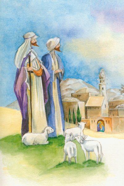 2-osainen jouluevankeliumikortti (Paimenet vaalea)
