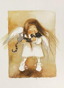 Kortti: Enkeli ja kissa (sopii myös joulukortiksi)