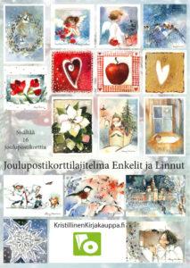 Joulupostikorttilajitelma: Enkeli ja linnut (sis. 16 korttia)