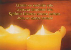 Joulukortti (Lämmin on kynttilän valo)