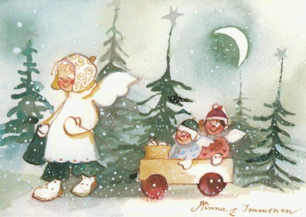 Joulukortti: Kuutamolla