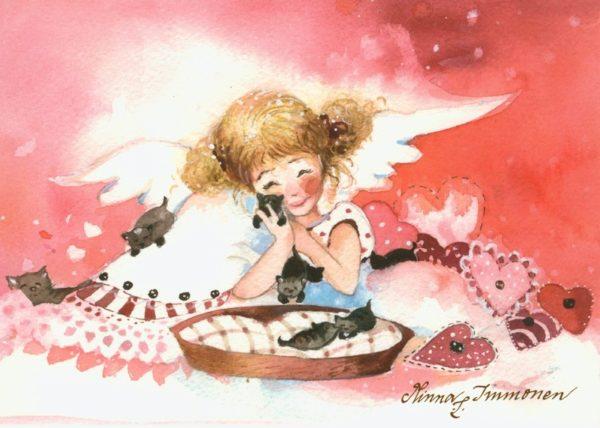 Joulukortti: Hellä enkeli