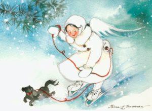 Joulukortti: Enkeli luistimilla ja koira