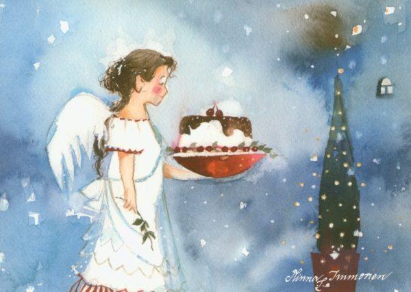 Joulukortti: Lumihiutale-enkeli