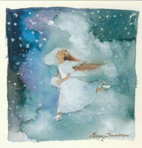 Joulukortti: Luisteleva enkeli (neliö)