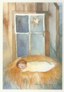 Joulukortti: Jeesus-lapsi seimessä