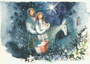 Joulukortti: Joosef, Maria ja Jeesus