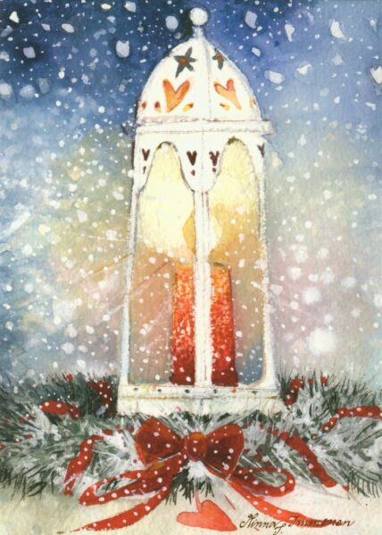 Joulukortti: Lyhty ja kranssi