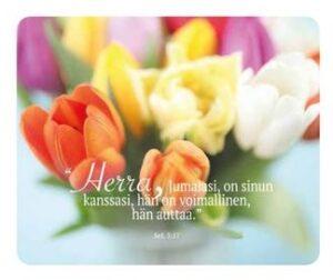 """Hiirimatto, tulppaanit: """"Herra, Jumalasi, on sinun kanssasi, hän on voimallinen, hän auttaa."""" Sef. 3:17"""