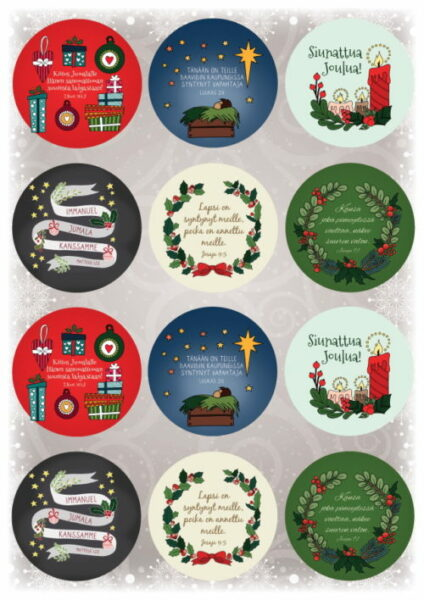 Pyöreät joulutarrat