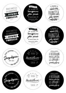 Pyöreät Raamatunlausetarrat, 12 erilaista