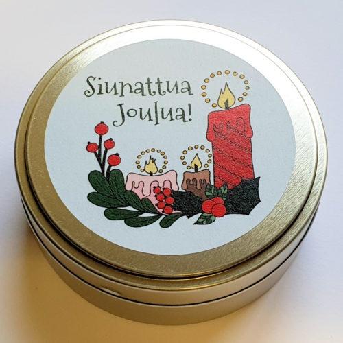 Mannakortit peltirasiassa, Siunattua Joulua!